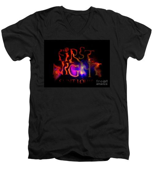First Night Sign 2 Men's V-Neck T-Shirt by Kelly Awad