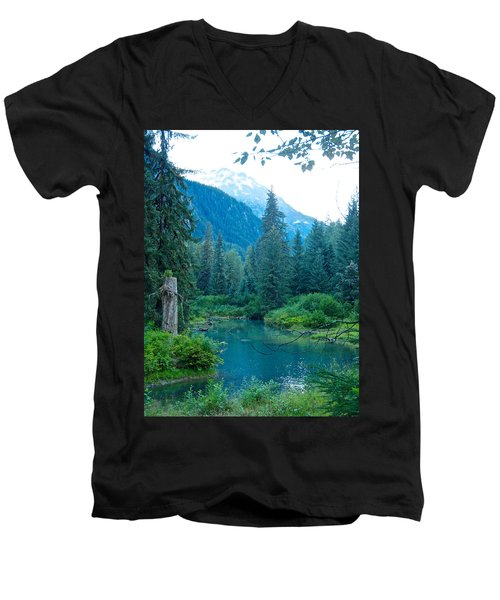 Fish Creek In Tongass National Forest By Hyder-ak  Men's V-Neck T-Shirt by Ruth Hager