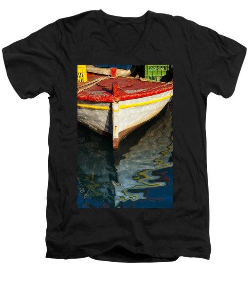Fishing Boat In Greece Men's V-Neck T-Shirt