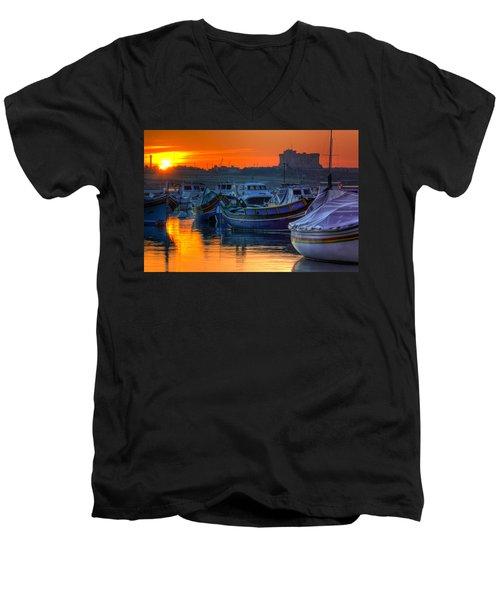 Fishing Boats In Birzebuggia Harbour Men's V-Neck T-Shirt
