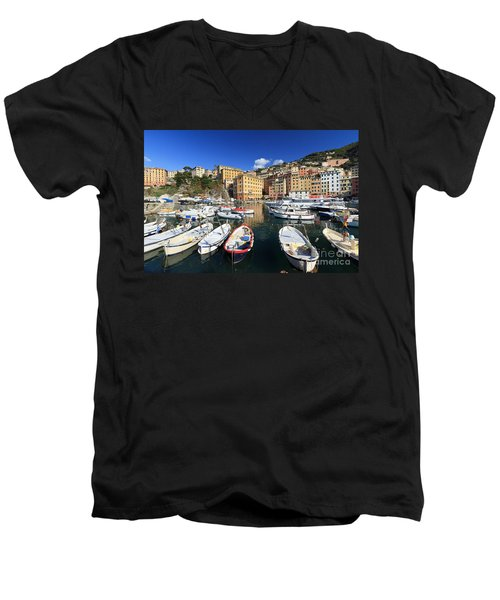 Men's V-Neck T-Shirt featuring the photograph fishing boats in Camogli by Antonio Scarpi