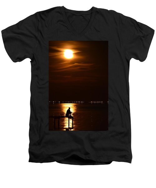 Fishing By Moonlight01 Men's V-Neck T-Shirt by Jeff at JSJ Photography