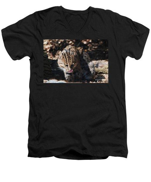 Fishing Cat Men's V-Neck T-Shirt by DejaVu Designs