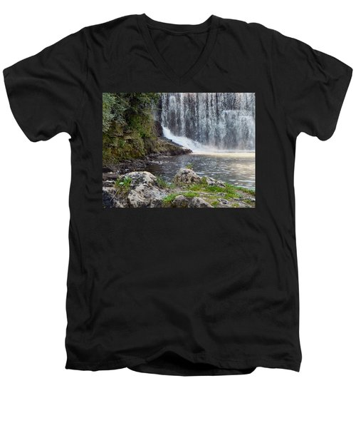 Men's V-Neck T-Shirt featuring the photograph Fishing Hole by Deb Halloran