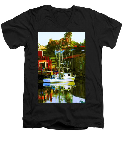Fish'n Boat At Harbor Men's V-Neck T-Shirt