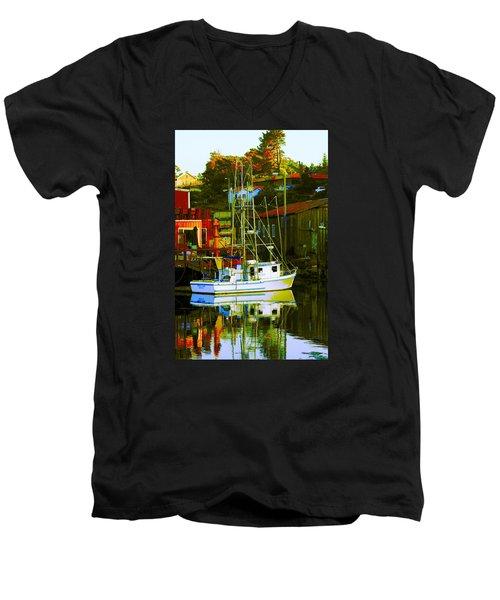 Fish'n Boat At Harbor Men's V-Neck T-Shirt