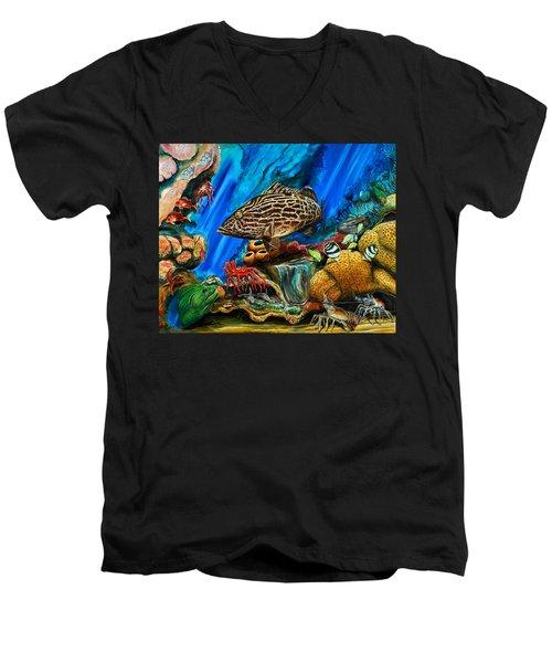 Fishtank Men's V-Neck T-Shirt by Steve Ozment