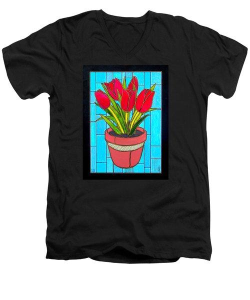 Five Red Tulips Men's V-Neck T-Shirt