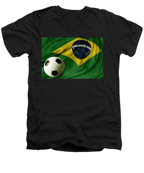 Flag And Ball Men's V-Neck T-Shirt