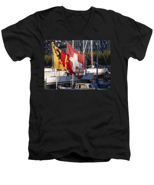 Men's V-Neck T-Shirt featuring the photograph Flags by Muhie Kanawati
