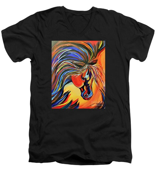 Flame Bold And Colorful War Horse Men's V-Neck T-Shirt