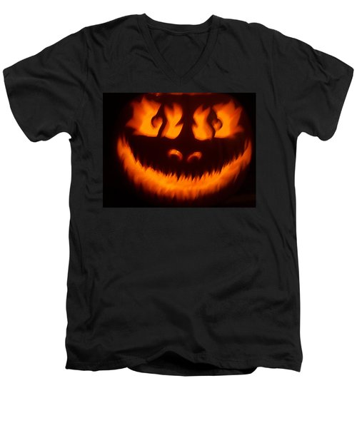 Men's V-Neck T-Shirt featuring the sculpture Flame Pumpkin by Shawn Dall