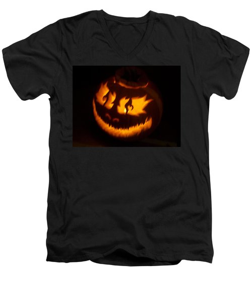 Men's V-Neck T-Shirt featuring the sculpture Flame Pumpkin Side by Shawn Dall