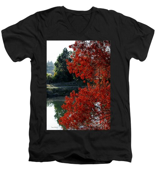 Flame Red Tree Men's V-Neck T-Shirt by Susan Wiedmann