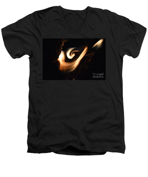 Men's V-Neck T-Shirt featuring the photograph Flame Thrower by Brian Boyle