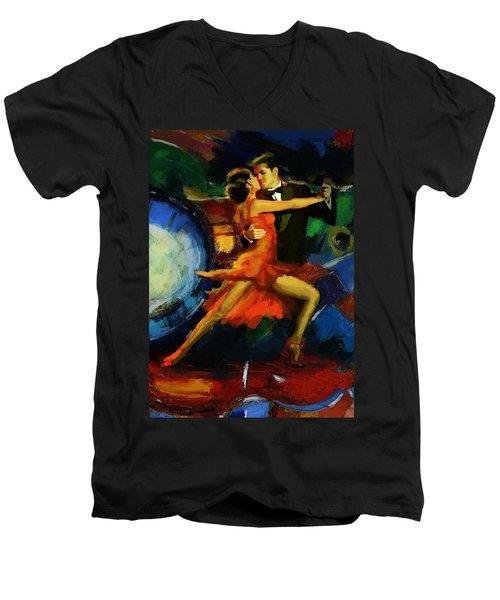 Flamenco Dancer 029 Men's V-Neck T-Shirt