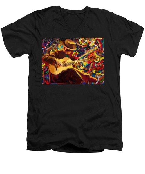 Flamenco Guitarist Men's V-Neck T-Shirt