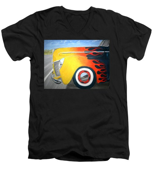 Men's V-Neck T-Shirt featuring the painting Flames by Stacy C Bottoms