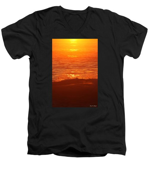 Men's V-Neck T-Shirt featuring the photograph Flames With No Horizon by Amy Gallagher