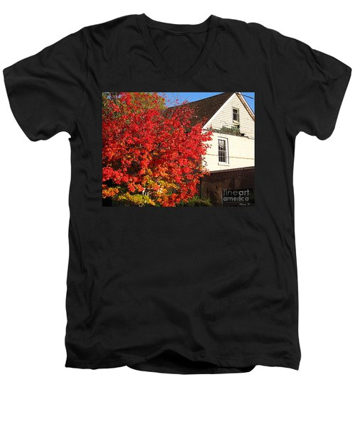 Men's V-Neck T-Shirt featuring the photograph Flaming Fall Colours On Farm House by Nina Silver