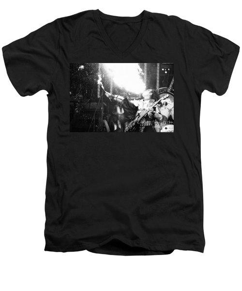 Men's V-Neck T-Shirt featuring the photograph Flaming Gene by Steven Macanka
