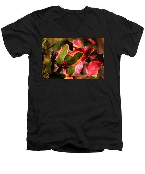 Men's V-Neck T-Shirt featuring the photograph Flaming Leaves by Shane Bechler