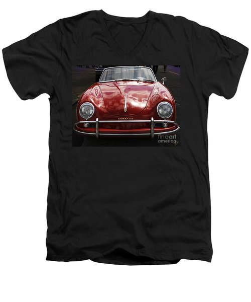Men's V-Neck T-Shirt featuring the photograph Flaming Red Porsche by Victoria Harrington