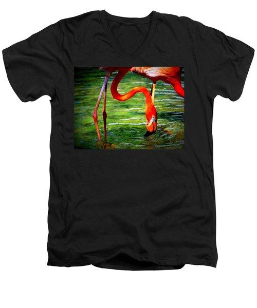 Men's V-Neck T-Shirt featuring the photograph Flamingo by David Mckinney
