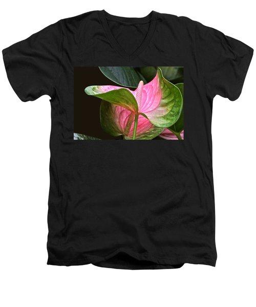 Flamingo Flower Men's V-Neck T-Shirt