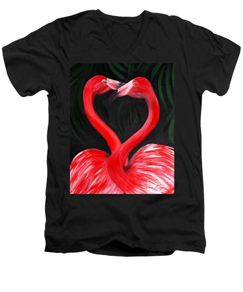 Love  Is... Flamingo Love. Inspirations Collection Men's V-Neck T-Shirt