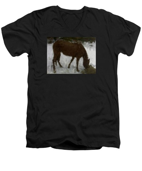 Men's V-Neck T-Shirt featuring the painting Flicka by Bruce Nutting