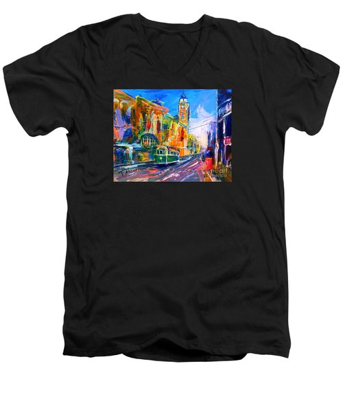 Men's V-Neck T-Shirt featuring the painting Flinders Street - Original Sold by Therese Alcorn