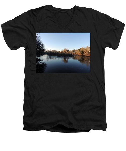 Men's V-Neck T-Shirt featuring the photograph Flint River 26 by Kim Pate