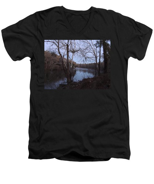 Men's V-Neck T-Shirt featuring the photograph Flint River 4 by Kim Pate