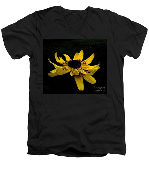 Men's V-Neck T-Shirt featuring the photograph  Black Eyed Susan Suspense by Ecinja