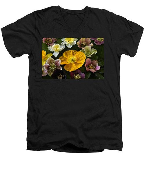 Floating Bouquet Of Early April Flowers Men's V-Neck T-Shirt