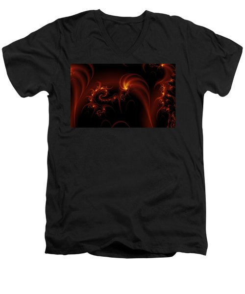 Floating Fire Fractal Men's V-Neck T-Shirt