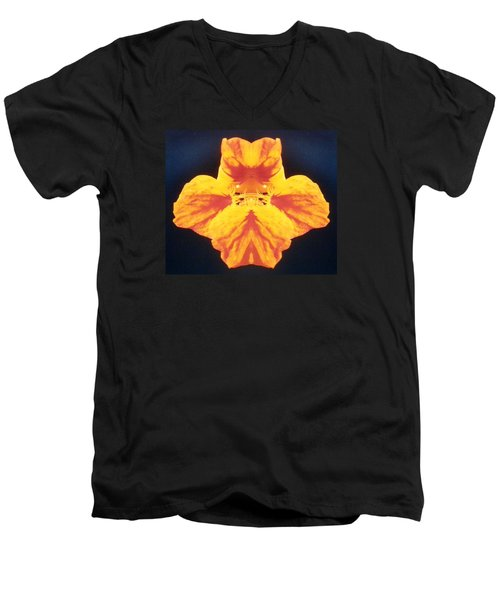 Bright Orange Floating Nasturtium Men's V-Neck T-Shirt