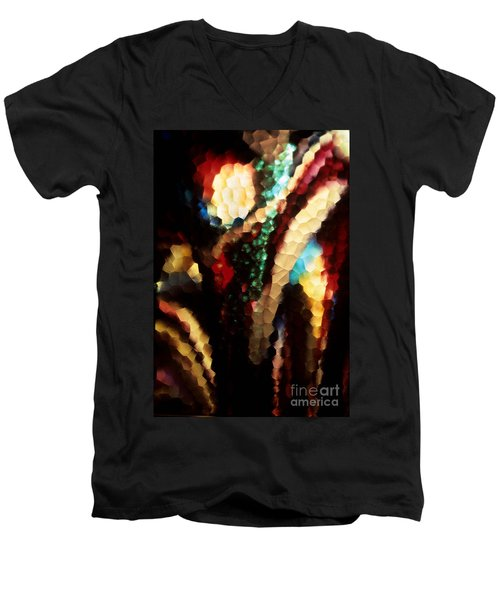 Men's V-Neck T-Shirt featuring the photograph Floral Abstract I by Sharon Elliott