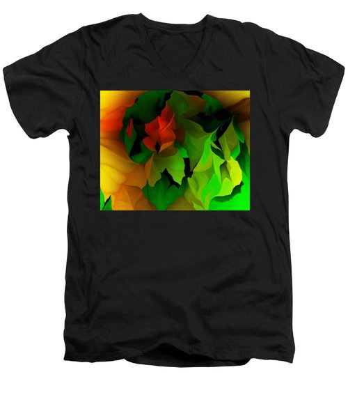 Men's V-Neck T-Shirt featuring the digital art Floral Abstraction 090814 by David Lane