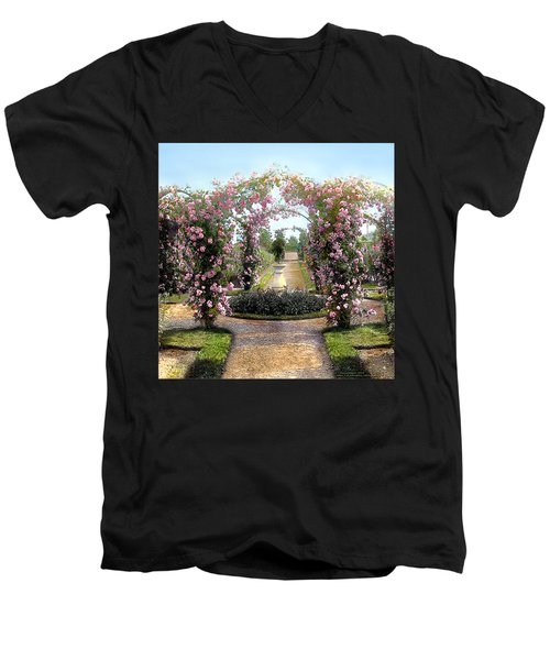 Floral Arch Men's V-Neck T-Shirt by Terry Reynoldson