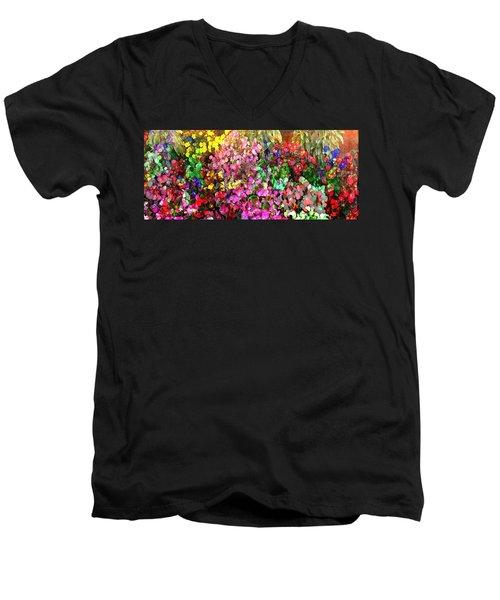 Floral Basket 1  2.4 To 1 Aspect Ratio Men's V-Neck T-Shirt