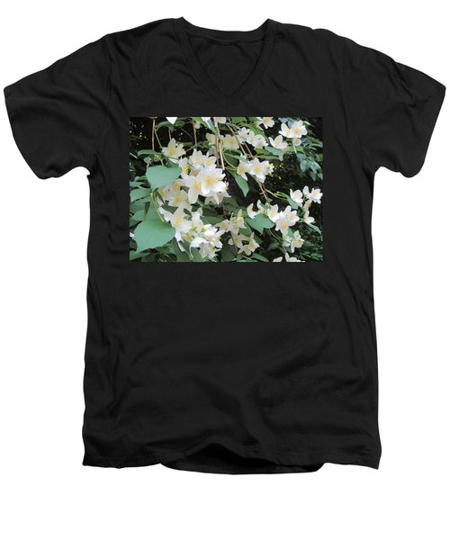 Floral Cascade Men's V-Neck T-Shirt by Pema Hou