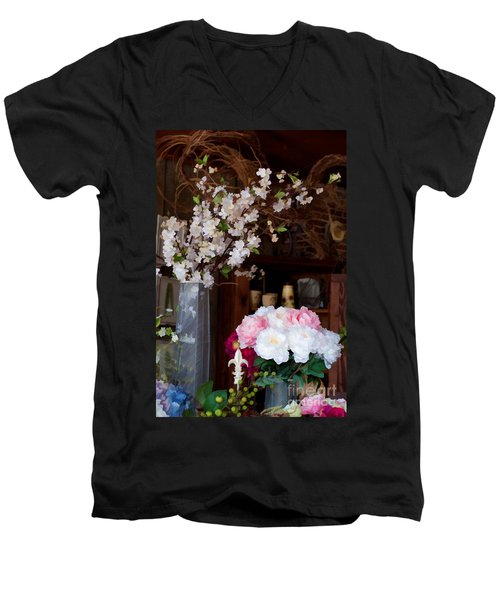 Floral Display Men's V-Neck T-Shirt by Liane Wright