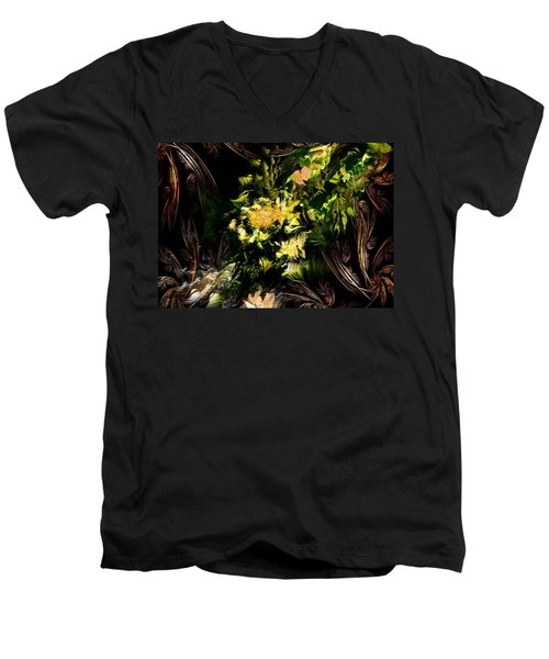 Men's V-Neck T-Shirt featuring the digital art Floral Expression 020215 by David Lane