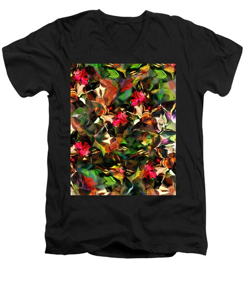 Men's V-Neck T-Shirt featuring the digital art Floral Expression 121914 by David Lane
