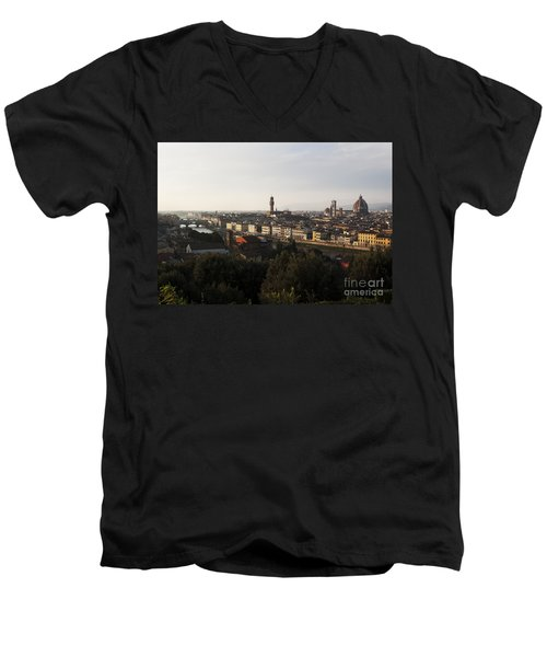 Men's V-Neck T-Shirt featuring the photograph Florence Form The Piazza Michalengelo by Belinda Greb