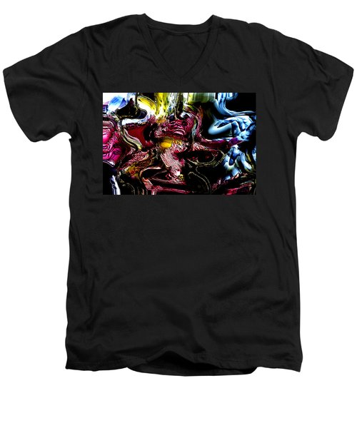 Men's V-Neck T-Shirt featuring the digital art Flores' Darker More Uncomfortable Twin by Richard Thomas