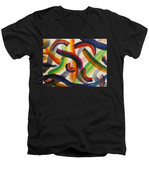 Men's V-Neck T-Shirt featuring the painting Flow by Thomasina Durkay