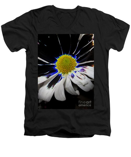 Art. White-black-yellow Flower 2c10  Men's V-Neck T-Shirt
